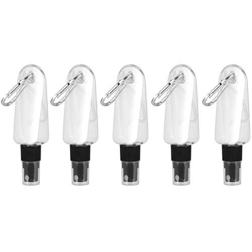 Cabilock 5 Piezas Botellas de Spray Transparente de Plástico de 30 Ml Portátiles Vacías con Llavero Pulverizador de Niebla Fina Atomizador Cosmético Botellas de Viaje de Aerosol Recargable