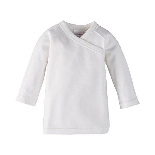 Bornino Bornino GOTS Raglan-Flügelhemd Langarm - Langarmshirt aus Reiner Baumwolle für Babys - unifarbenes Oberteil mit seitlichen Druckknöpfen - weiß