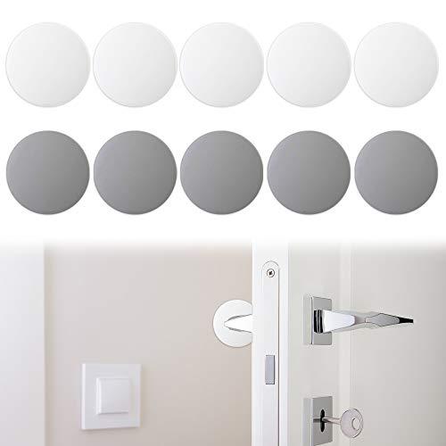 10 PCS 1.57 Inch Door HandleBumper, findTop Door Stopper Wall,Silicone Wall Protector, Door Knob Guard for Protecting Wall, Doorknobs, Refrigerator Door, Cabinets(White & Gray)