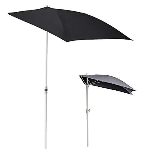 Parasol Sombrilla de Media Pantalla 160 × 100 cm Sombrilla de jardín Negra Protección UV Patio para Balcón, Patio, Patio Trasero