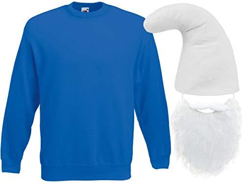 Alsino Zwerg Kostüm Zwergen Verkleidung (Kv-140) Blauer Pullover, weiße Zwergenmütze und Bart, Größe:M
