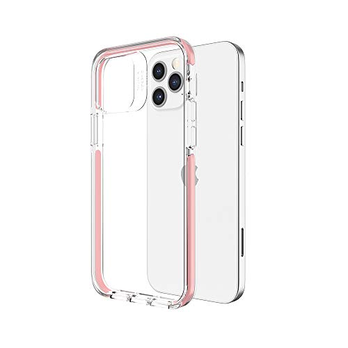 VOKAMO Shockproof Case for iPhone 12 6.1 inch Clear Case Military Grade Drop Protection, Hard PC Back Anti-Scratch Anti-Yellow, Soft TPU Bumper, Protective Cover for iPhone 12 Pro 6.1'' Pink Bumper