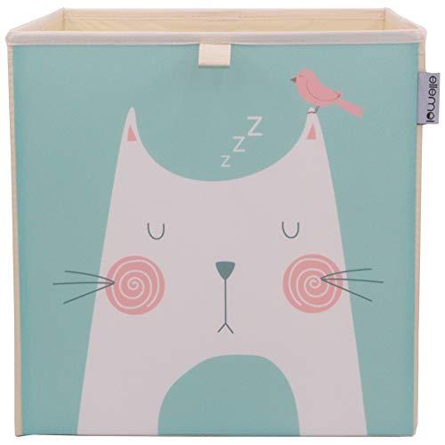 Kinder Aufbewahrungsbox von ELLEMOI Faltbare Spielzeug Box (33x33x33) zur Aufbewahrung im Kallax Regal (Schlafende Katze)