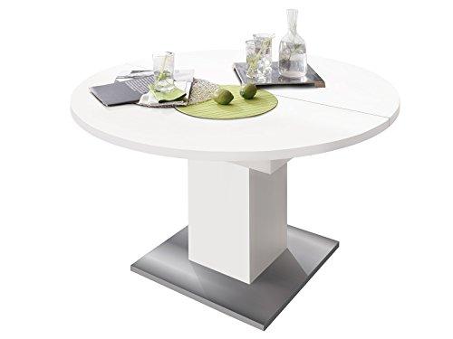 möbelando Esszimmertisch Speisentisch Esstisch Tisch Küchentisch Holztisch Judd III weiß matt/Edelstahloptik