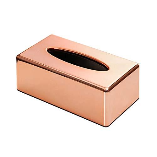 NoBrand Manyo - Caja de pañuelos rectangular, plástico de polipropileno, diseño de papel de toalla, dispensador de papel higiénico, oro rosa, 25 x 13,8 x 9,1 cm