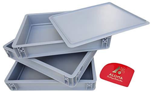 Aloma Pizzadegbox, 30 x 40 cm, pizzadeg behållare låda för degar 7,5 cm hög, lämplig för kylskåp, stapelbar + degspade