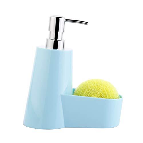 Hemoton Dispenser Voor Vloeibare Zeep Met Sponshouder Lege Pompflessen Hervulbare Zeepdispenser Flessen Voor Shampoo Lotions Keukenbad