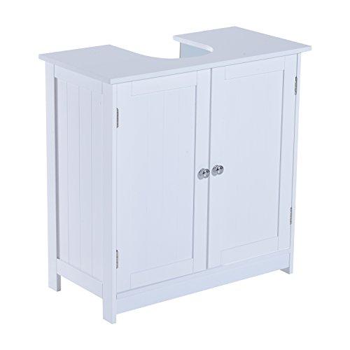 HOMCOM Waschbeckenunterschrank Badschrank Badmöbel Waschbecken Unterschrank Weiß L60 x T30 x H60 cm