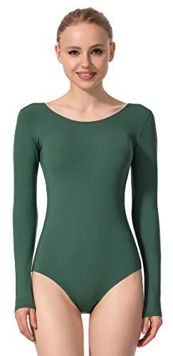 MOLLDAN Women Basic Dance Leotard Long Sleeve Adult Team Short Sleeve Ballet Leotard Tank Top Sleeveless Dancewear(4028-L-11)