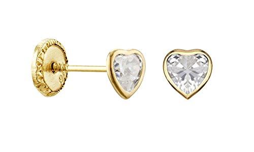 Herz-Ohrringe Gelbgold 9 ct-Systeme Kinderwagen a www.diamants perles.com-Schrauben