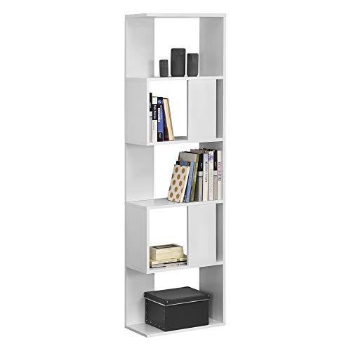 [en.casa] Libreria a 5 Ripiani 159 x 45 x 23,5 cm Scaffale in Design Moderno Mobile Portaoggetti per Soggiorno - Bianco