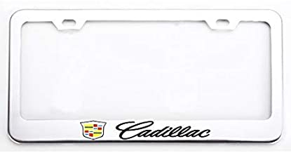 Zoonon 2X Stainless Steel Metal Heavy Duty License Plate Tag Frame Cover Holder for Cadillac Black 2 Crest