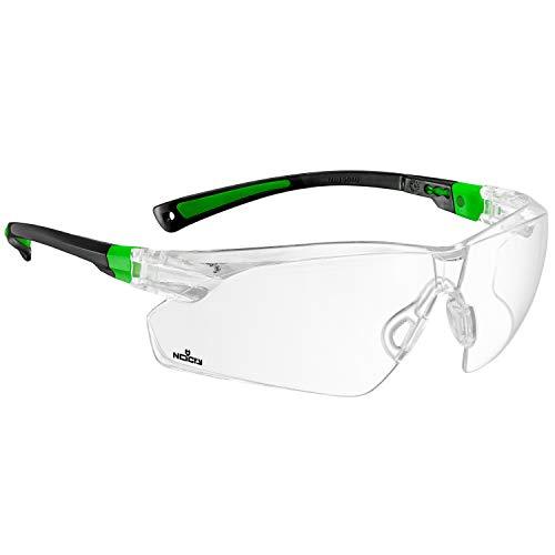 NoCry Schutzbrille mit durchsichtigen Anti-Beschlag und kratzbeständigen Gläsern, Seitenschutz und rutschfesten Bügeln, UV-Schutz, EN166/EN170 zertifiziert. Verstellbar (Schwarz & Grün)