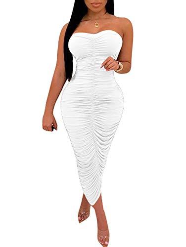 BEAGIMEG Women's Sexy Ruched Strapless Bodycon Tube Maxi Long Club Dress White