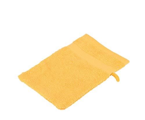 Gözze, lot de 4 gants de toilette jaunes, 17x24 cm , 100% coton, excellente qualité 550 g/m², moelleux et utra doux Standard 100