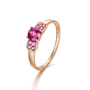 Dainty Minimalist 18K Solid Rose Gold Pink Tourmaline Ring