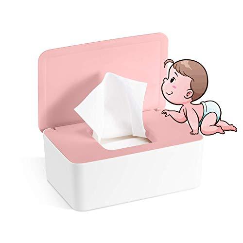 Caja para Toallitas Húmedas, Dispensador de Toallitas Humedas, Caja de almacenamiento de pañuelos con tapa, Caja de almacenamiento de pañuelos a prueba de polvo para Oficina en casa (rosa blanco)
