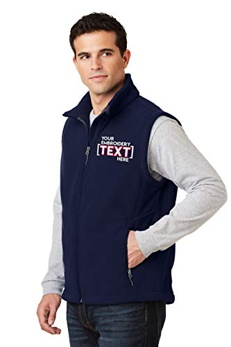 Custom Embroidered Fleece Vest for Men - Add Your Text - Embroidery Zip Up Sleeveless Jacket True Navy