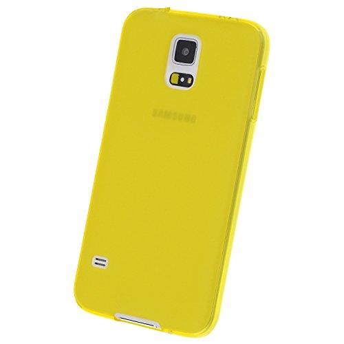doupi PerfectFit TPU Custodia per Samsung Galaxy S5, Tappi di Polvere incorporatin Mat Trasparente Cover, Giallo