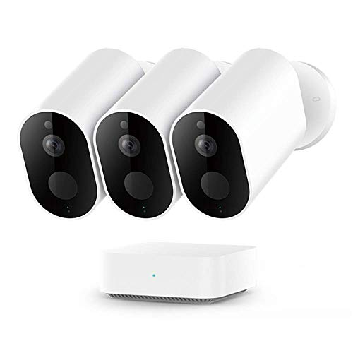 IMILAB Cámara HD EC2, WiFi inalámbrica 1080P seguridad para el hogar PIR IP65 impermeable al aire libre visión nocturna cámara de vigilancia con puerta de enlace (3 unids con pasarela)