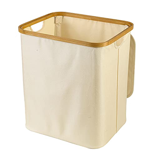 DNSAHOI - Cesto para la colada con tapa, bambú, resistente al agua, cesta para la colada (beige, 33 x 45 x 40 cm)