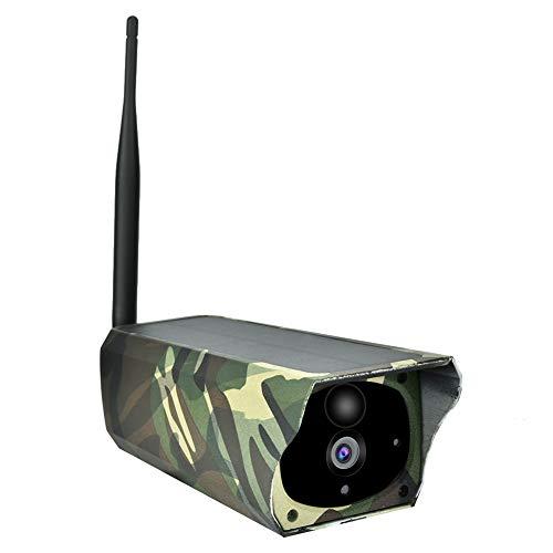 Telecamera di sicurezza solare Wi-Fi, telecamera di sicurezza wireless esterna 1080P HD Telecamera di sicurezza senza fili mimetica, induzione del corpo umano di 10m PIR