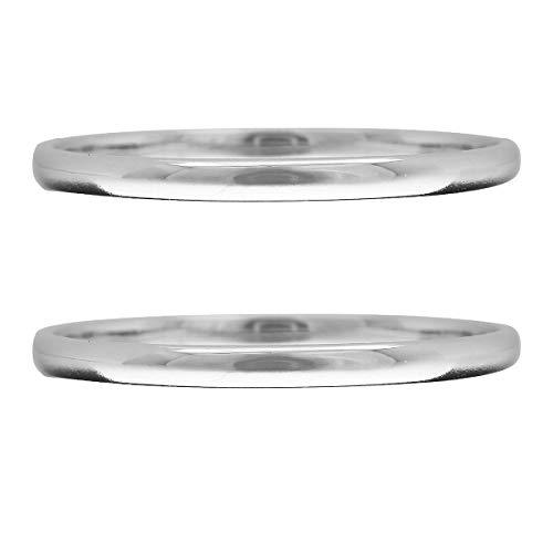 [ココカル]cococaru ペアリング 2本セット K10 ホワイトゴールド マリッジリング 結婚指輪 日本製 (レディースサイズ11号 メンズサイズ2号)