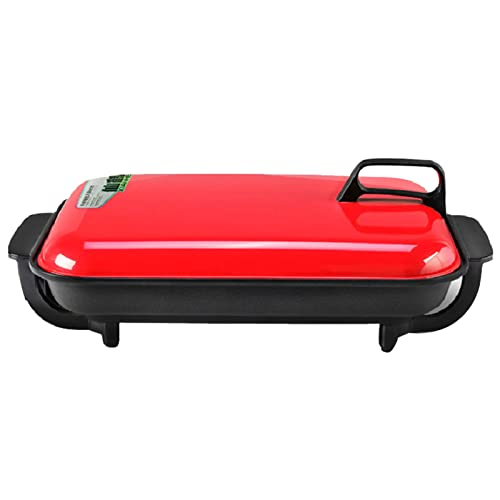 Sartén LHA - Parrilla Eléctrica Multifunción 1500 W Olla Cocción Antiadherente con Mango Baquelita y Tapete Antideslizante Ajuste 5 Niveles, Rojo