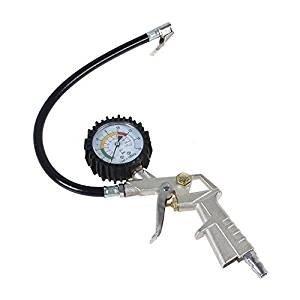 Satkit bandenpistool met drukmeter voor gebruik met luchtcompressor