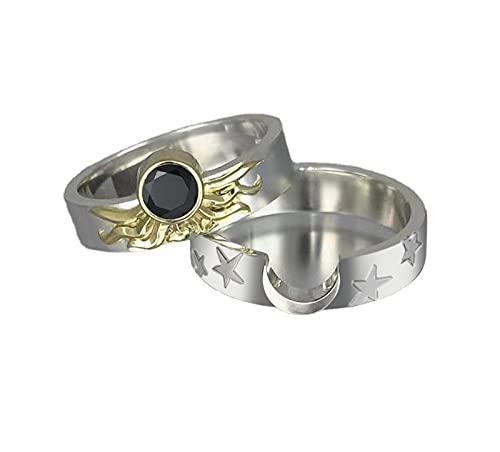minjiSF Anillo de estrella y luna, a juego para mujer, insertado, no se decolora, anillo clásico para el año para mujer, aniversario, regalo, anillos de amistad, anillos de pareja (E)