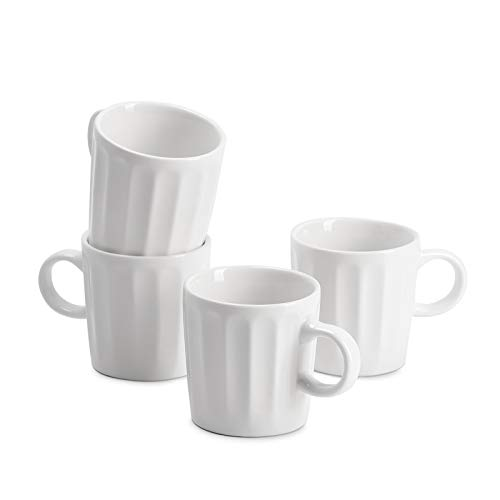 Sweese 410.101 Porcelain Espresso Cups - 3.5 Ounce - Set of 4, Fluted Cups, White