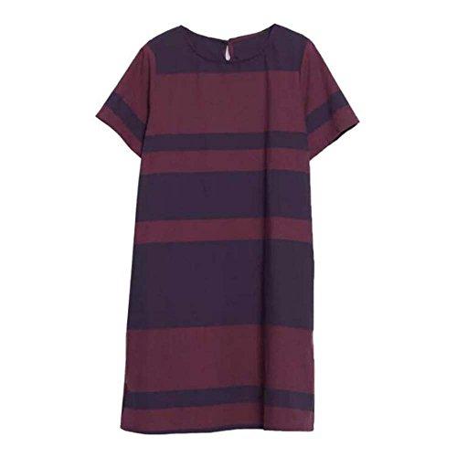 Oneforus Lässige Mode Vintage Dress - Colorblocked kurzen Ärmeln Rundhals lose Strandkleid Leinenrock