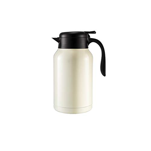 Thermos en acier inoxydable de grande capacité 2L 304, double isolation de la tasse de café isolé par tasse sous vide, idéal pour bureau espace de réunion familial-White