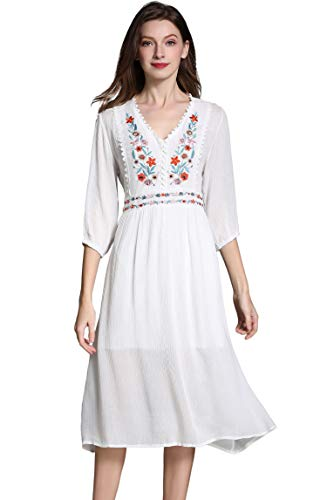 Women's Short Sleeve Mexican Embroidered Floral Pleated Midi A-line Cocktail Dress (M, White)
