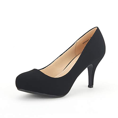 DREAM PAIRS Tiffany Women's New Classic Elegant Versatile Low Stiletto Heel Dress Platform Pumps Shoes Black Size 8