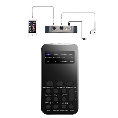 GGHKDD Changeur de voix, carte son externe pour téléphone mobile, effets sonores intégrés pour ordinateur, smartphone, tablette, amis, Halloween, Noël