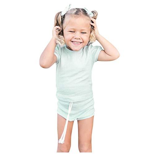LEXUPE Kleinkind Baby Mädchen Kurzarm Solid Tops + Shorts Stirnbänder Outfits Set(Grün,70)