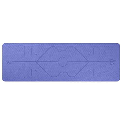 Yuan Ou Esterilla Yoga Estera de Yoga TPE de 1830 * 610 * 6 mm con línea de posición Estera de Alfombra Antideslizante para Principiantes Esteras de Gimnasia de Fitness Ambiental Morado Claro