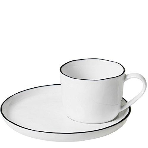 broste Copenhagen Tasse M/Untertasse 'Salt' S Porzellan White W/Black Rim