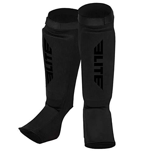 Elite Sports Muay Thai MMA Kickboxing shin Guards, Instep Guard Sparring Protective Leg shin Kick Pads for Kids and Adults (L-XL, Black/Black)