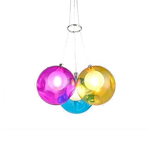 DIY Clear G4 hanglamp met gekleurde glazen bol voor restaurant, woonkamer, eetkamer, binnenbekleding, meerkleurig, helder