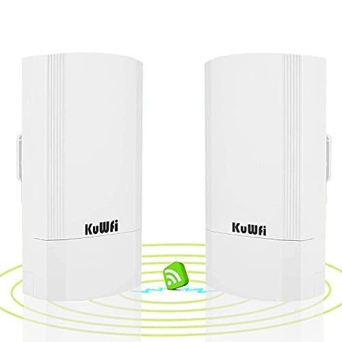Accesso Point Esterno, KuWFi 900Mbps Indoor e Outdoor Point-to-Point Wireless Bridge/CPE Supporta la Soluzione di Trasmissione Remota 2KM per PTP, PTMP