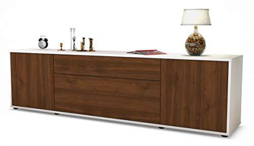 Stil.Zeit TV Schrank Lowboard Aria, Korpus in Weiss matt/Front im Holz-Design Walnuss (180x49x35cm), mit Push-to-Open Technik und hochwertigen Leichtlaufschienen, Made in Germany