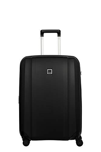 TITAN 4-Rad Koffer mittlere Größe mit Dehnfalte + TSA Schloss, Gepäck Serie XENON: Kratzfeste Hartschalen Trolleys, 849405-01, 67 cm, 76 Liter (erweiterbar auf 87 Liter), black (schwarz)