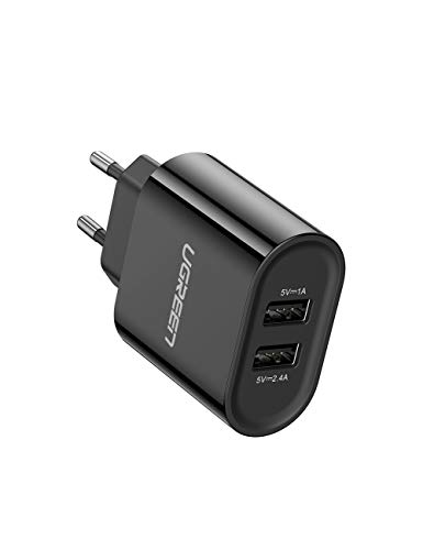 UGREEN USB Ladegerät 17W 3.4A USB Ladeadapter 2 Ports Netzteil mit Intelligent Technologie kompatibel für iPhone 11/ X/8Plus /8/7, iPad Air,Galaxy S9 plus/S8/S7, Kameras,Handys, Tabletten (Schwarz)