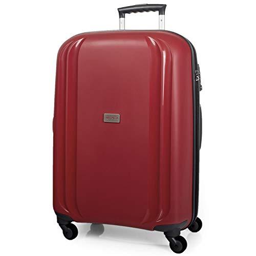 ITACA - Maleta de Viaje Rígida Grande XL 4 Ruedas Trolley 77 cm de Polipropileno Texturizado. Resistente y Ligera. Gran Capacidad. Mango, 2 Asas. Candado TSA. I80070, Color Rojo