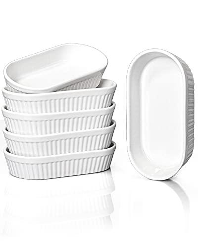 Delling 8 Oz Ramekins - Souffle Dishes Oven Safe, Oval Ramekins for Baking Crème Brulee, Porcelain Dessert Bowls, Set of 6, White