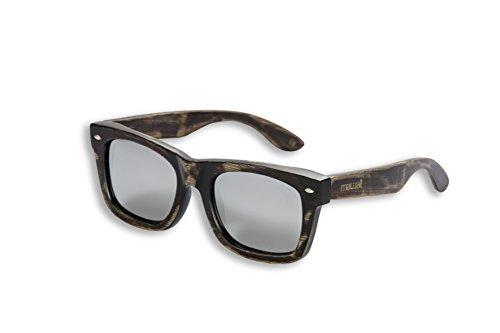 Mawaii Modell TiMu Antik-Braun-Silber Polarized Lenses Fgv (Feel Good Vision) Inkl. Bambus-Box Und Mikrofaserbeutel Sonnenbrille, L
