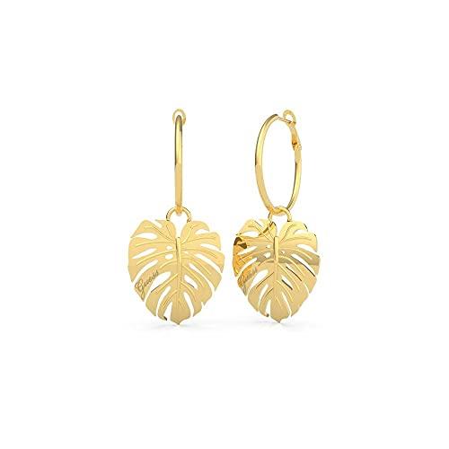 Guess Jewellery Pendientes de aro de oro tropical de 25 mm con hojas colgantes UBE70220