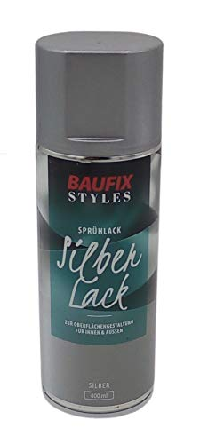 Baufix Gold Silber Lackspray 400ml Farbspray Sprühdose Lack Buntlack Sprühfarbe, Farbe:Silber